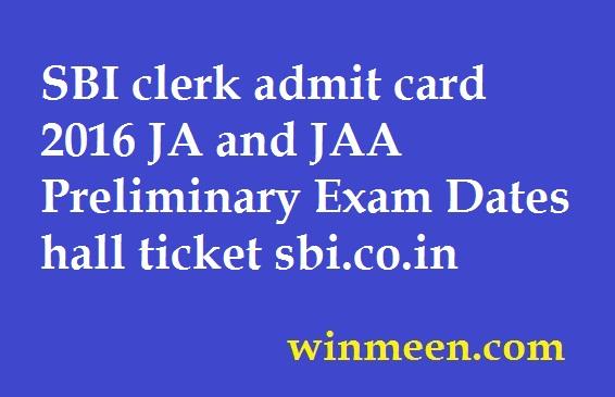 online admit card of sbi clerk exam 2014