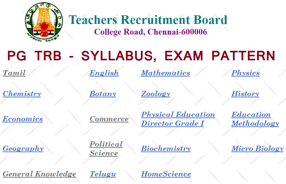 Tamilnadu Pg Trb Syllabus Exam Pattern 2017