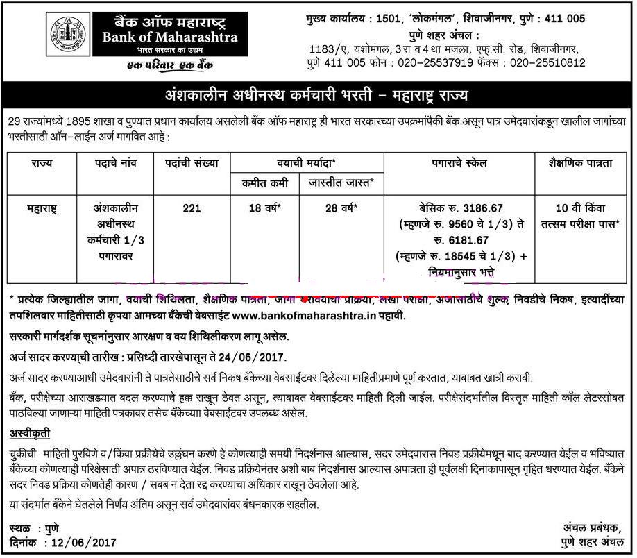 bank of maharashtra sub staff application form