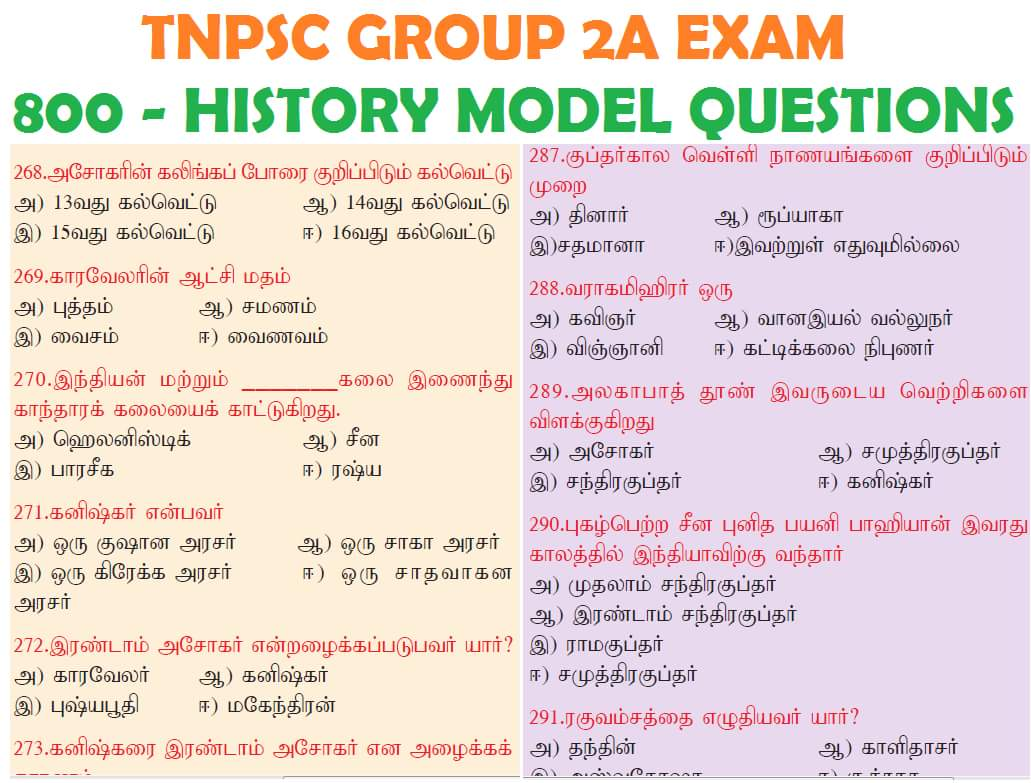 TNPSC Group 2A Model Question Paper With Answer Pdf Download